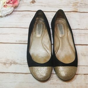 Jimmy Choo Gold Glitter Black Flats Sz 38.5 | 8.5